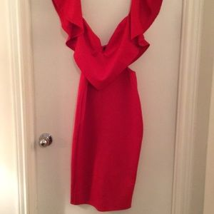 Red Ruffled Dress with cutouts